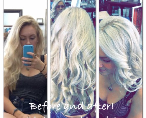 Before After Platinum Blonde at Fringe Salon in Coon Rapids MN!