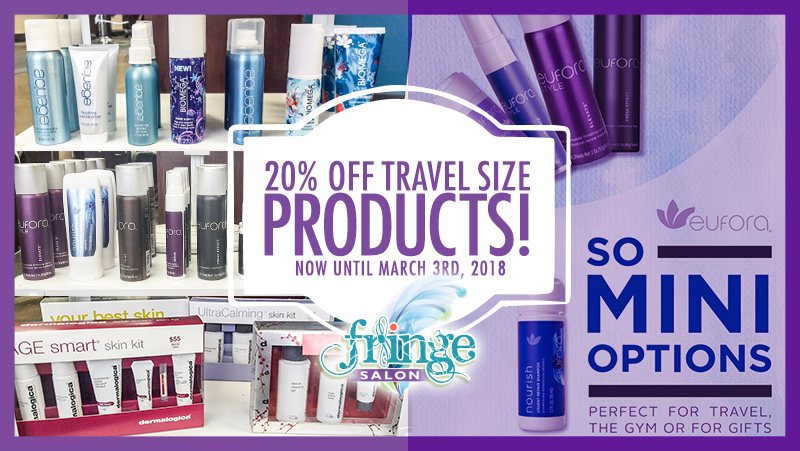 20% Off Travel Products at Fringe Salon in Coon Rapids, MN!