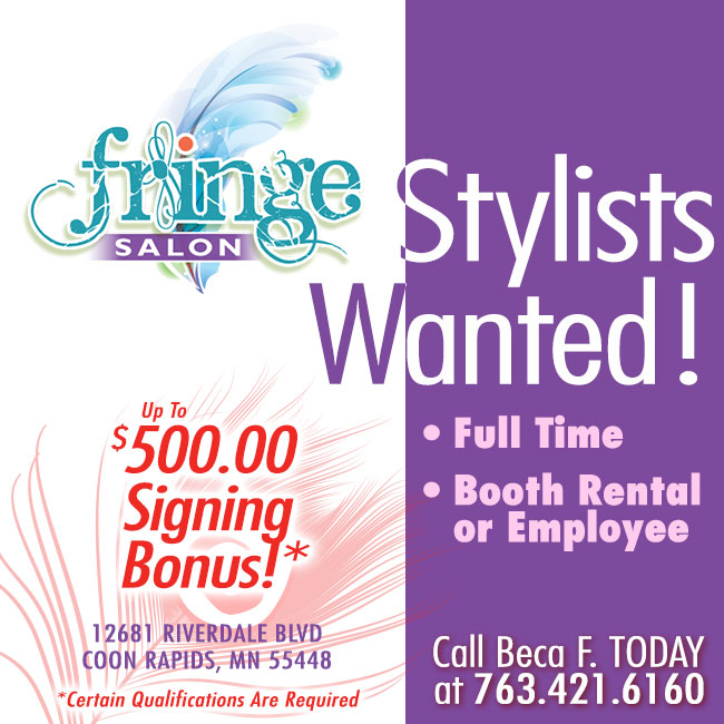 Stylists Wanted at Fringe Salon Coon Rapids!